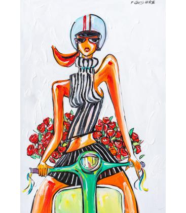 Scooter et bouquet de roses