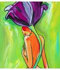Reproduction Toile 40x40 Femme Tulipe